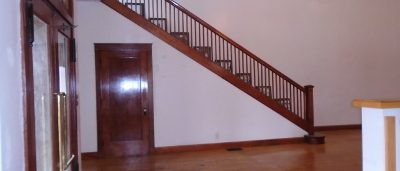 Side View of staircase to the balcony at the historic Ward Building